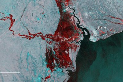 Satellite image shows extent of Idai-related flooding