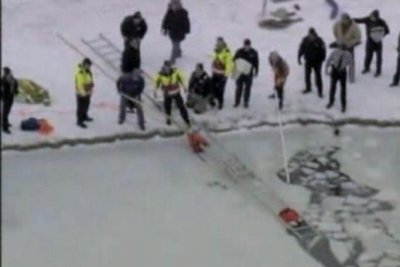 North Carolina dog's frozen pond rescue caught on camera