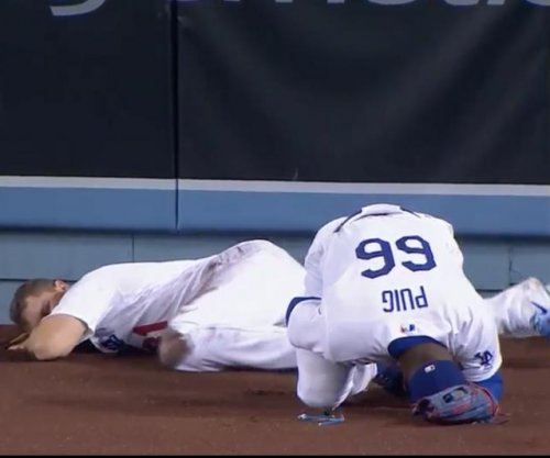 Yasiel Puig steamrolls Los Angeles Dodgers teammate, makes catch