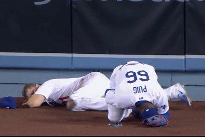 Yasiel Puig steamrolls Los Angeles Dodgers teammate, makes catch