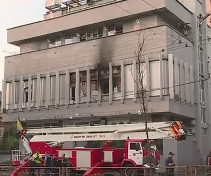 Ukrainian TV station, criticized as pro-Russian, burned, picketed
