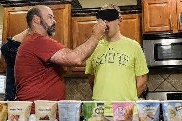Blindfolded man identifies 11 ice cream flavors in 60 seconds