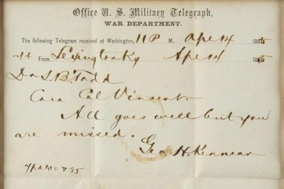 Lock of Abraham Lincoln's hair, 'bloody' assassination telegram sell for $81,250