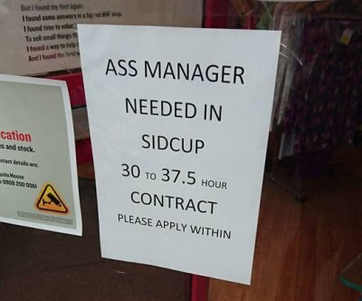 Job listing for assistant features unfortunate abbreviation
