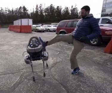 Four-legged robot can walk up stairs, recover from being kicked