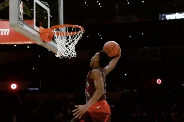 watch donovan mitchell summons vinsanity at dunk contest