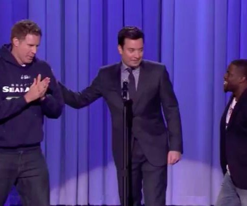 Jimmy Fallon battles Will Ferrell, Kevin Hart after Super Bowl