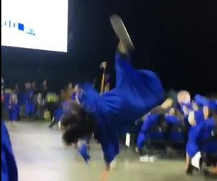 Illinois graduate's celebratory backflip backfires