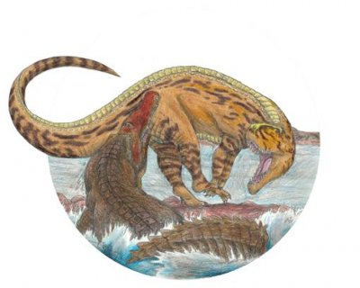 Dinosaurs of the land and sea likely faced off, predator versus predator