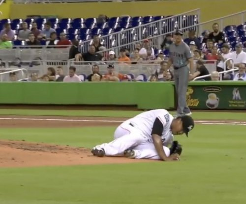 Marlins pitcher Hernandez falls off mound for balk, still strikes out hitter