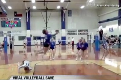 Volleyball player's gravity-defying save shocks Internet