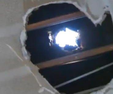 Mystery ice ball crashes through California garage roof