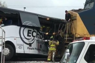 Four dead, at least 34 injured as bus, train collide in Biloxi, Miss.