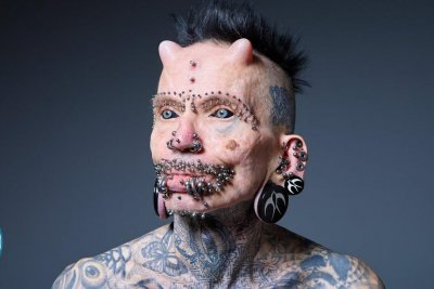 German man sets world record with 516 body modifications