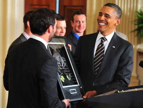 NASCAR champs meet Obama at White House
