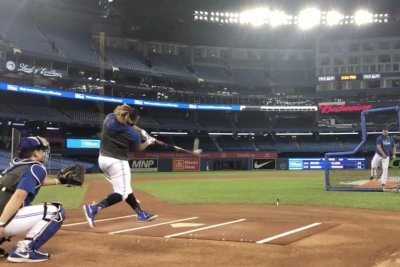 Blue Jays' Vladimir Guerrero Jr. practices for Home Run Derby
