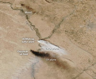 NASA satellite sees sulfur dioxide diffuse across northern Iraq