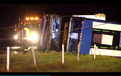 Megabus flips over on highway near Indianapolis