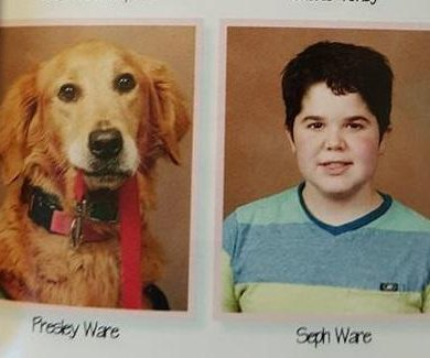 Student's service dog gets her own photo in middle school yearbook