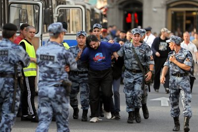 Hundreds arrested in protests against Russian pension plans