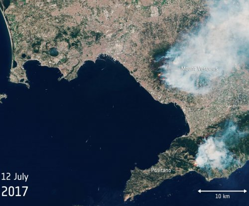Satellite spots burning Mount Vesuvius