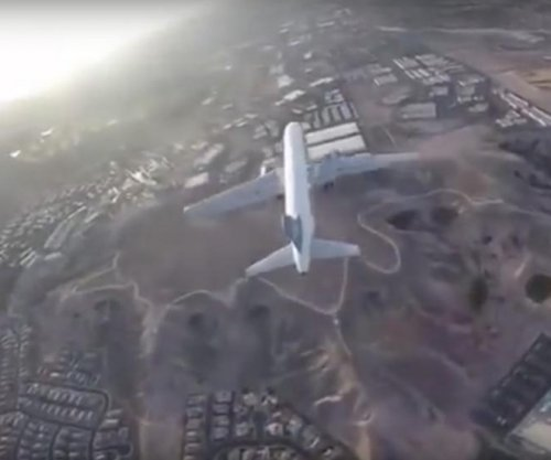 Drone footage reveals close call with plane landing in Las Vegas