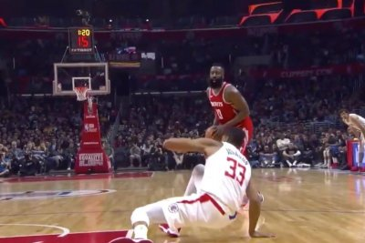 39552255917 Watch  James Harden sends Wesley Johnson flying with disgusting ...