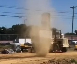 Three dust devils swirl through Pennsylvania construction site