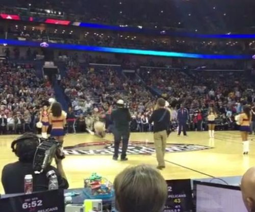 Will Ferrell throws basketball at cheerleader's face