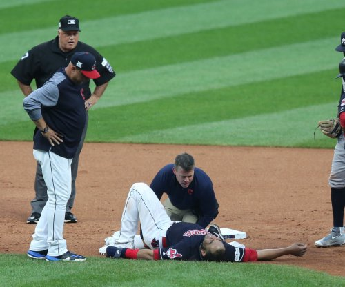 ALDS: Cleveland Indians DH Edwin Encarnacion departs with ankle injury vs. New York Yankees