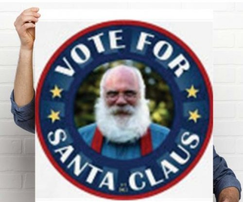 Santa Claus campaigning for North Pole City Council