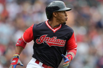 Francisco Lindor, Cleveland Indians belt Los Angeles Angels