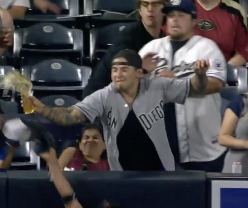 San Diego Padres' Eric Hosmer hits home run off of fan's beer