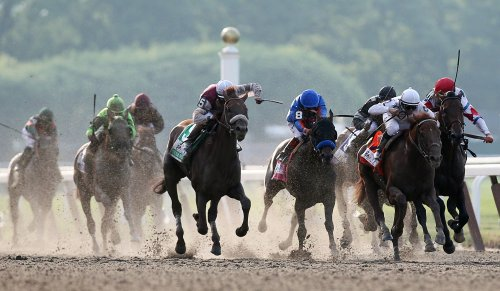 Drosselmeyer wins Belmont in close finish