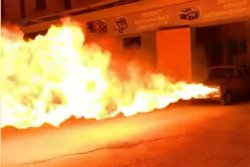 Mechanic customizes car to shoot flames from headlights