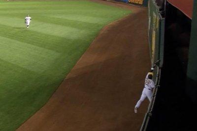 Athletics' Ramon Laureano robs Joey Votto homer, saves no-hitter