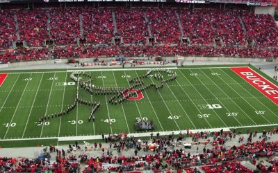 Ohio State's marching band performs classic rock halftime show