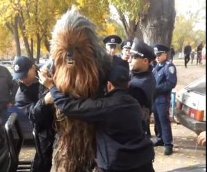 Chewbacca arrested for supporting Darth Vader in Ukraine election