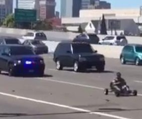 Man in go kart flees police pursuit on California highway