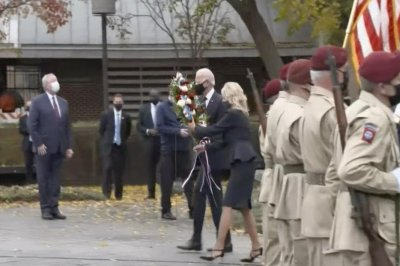 Bidens lay wreath at Philadelphia war memorial in honor of Veterans Day thumbnail