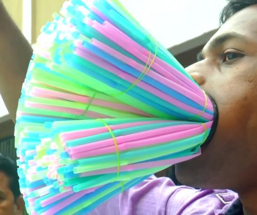 Man breaks Guinness record by stuffing 459 straws in his mouth