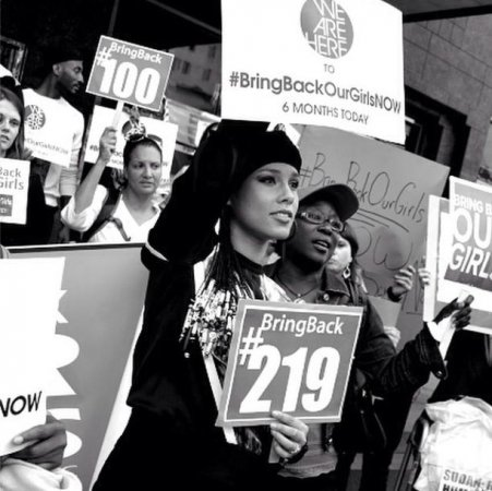 Alicia Keys organizes protest for missing Nigerian girls