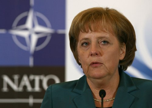 German Chancellor Merkel meets astronauts