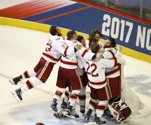 Denver Pioneers' Jarid Lukosevicius follows coach with hat trick for NCAA hockey title