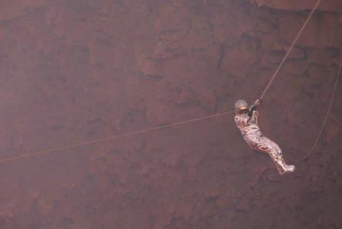 Brazilian adventurer traverses lava lake for Guinness record