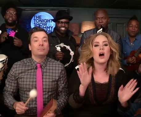 Adele, Jimmy Fallon perform 'Hello' using classroom instruments