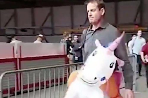 Carson Palmer: Arizona Cardinals QB arrives at game wearing inflatable unicorn