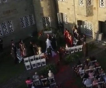 Videographer crashes camera drone during wedding
