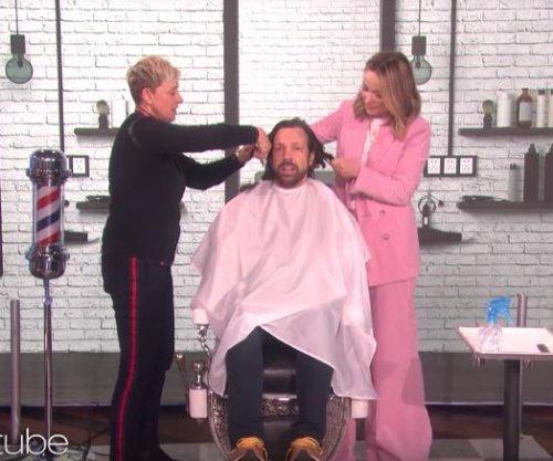 Olivia Wilde, Ellen DeGeneres give Jason Sudeikis a haircut