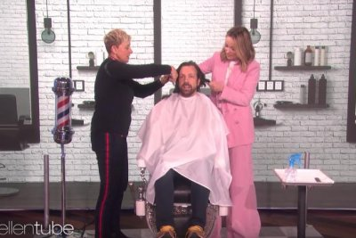 Olivia Wilde, Ellen DeGeneres give Jason Sudeikis a haircut